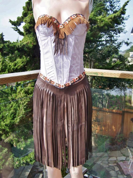 Leather Dress Pocahontas Corset & Overskirt set size m Boho festival Babe-a-Licious Hottie by Green Market Vintage on Etsy, $110.00
