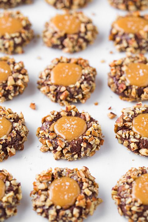 Salted Caramel Turtle Thumbprint Cookies | Recipe | A well ...