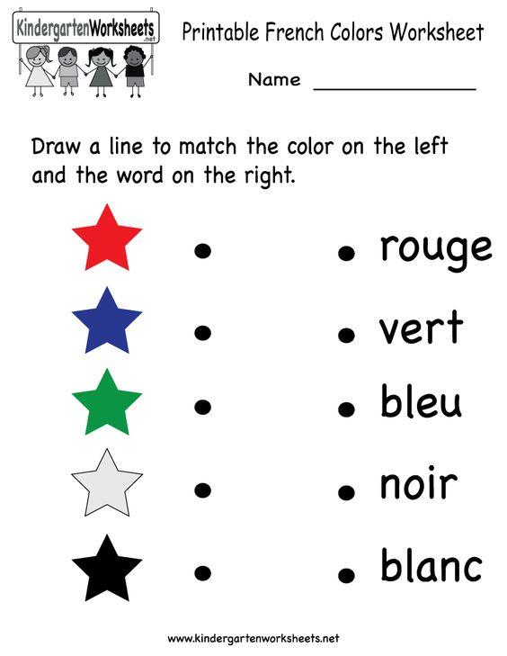 Kindergarten French Colors Worksheet Printable – Learning Worksheets for Kindergarten