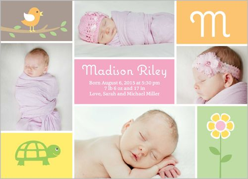 Birth Announcement Absolutely Adorable Girl Square Corners Pink – Shutterfly Baby Announcements