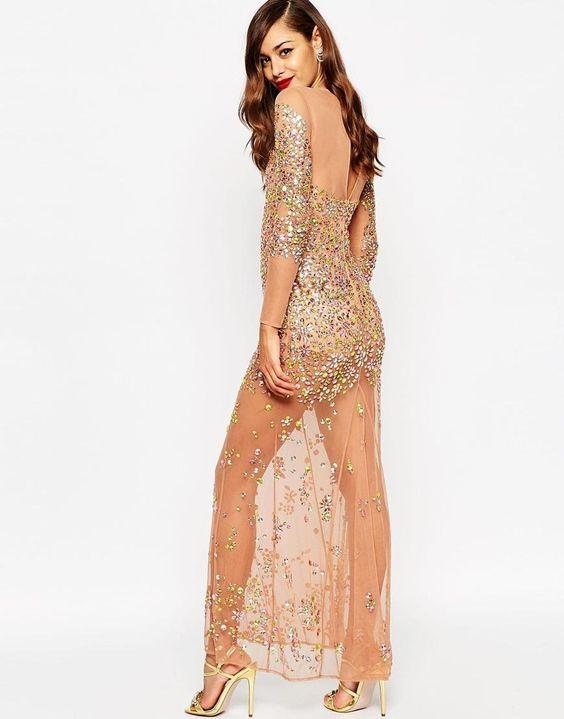 ASOS | ASOS RED CARPET Embellished Illusion Fishtail Maxi Dress at ASOS