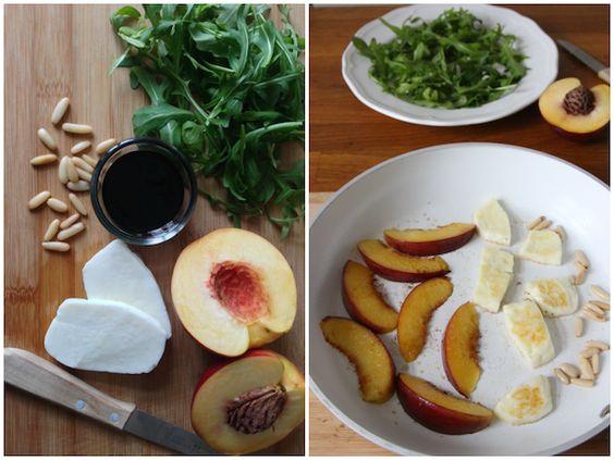 MachenStattReden: Rucolasalat mit Halloumi und gebratenen Nektarinen {Tschüss Kartoffel & Co.}