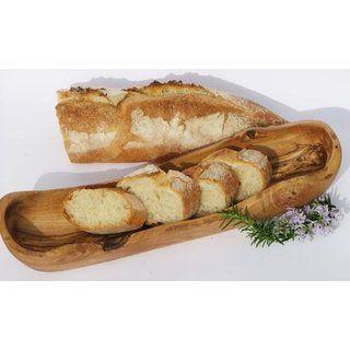 Olivenholz Brotkorb BAGUETTE. Holzschale speziell für Baguette. 33 cm - 36 cm. Original Figura Santa Qualität!