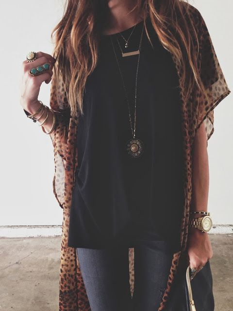 Kimonos Leopards and Outfit on Pinterest