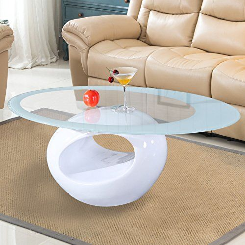 Glass Oval Coffee Table Contemporary Modern Design Living Room