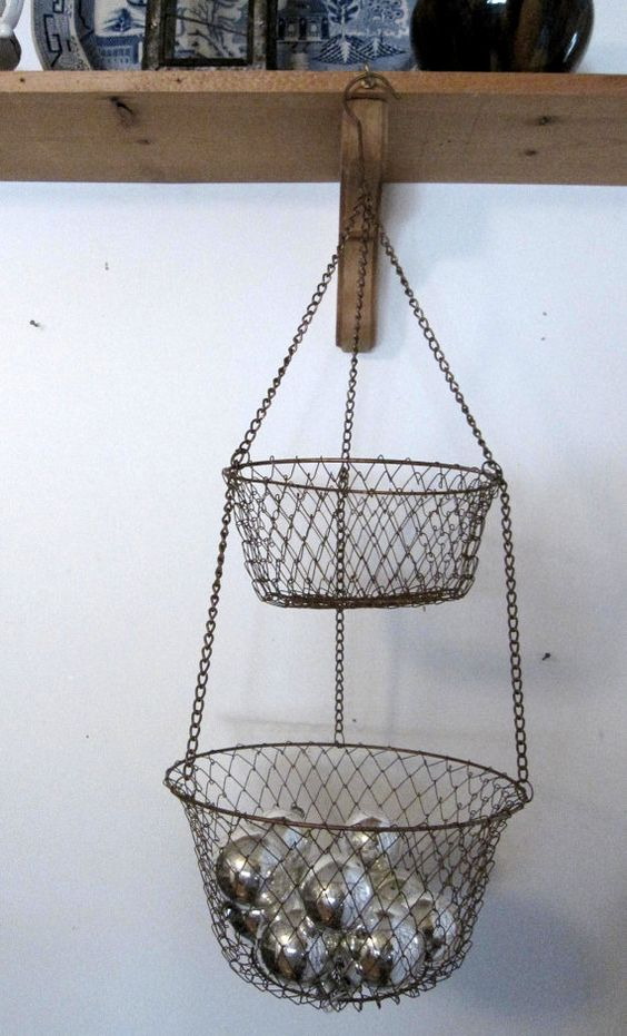 Reserved For Peta Vintage Collapsable 2 Tier Hanging Copper Wire Egg Vegetable Basket Shabby