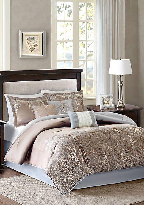 Madison Park Vanessa 7 Piece Blue Comforter Set Blue Comforter Sets Comforter Sets Bed Linens Luxury