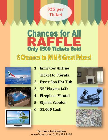 Raffle Flyer Template With Several Prizes  Raffle Flyer And