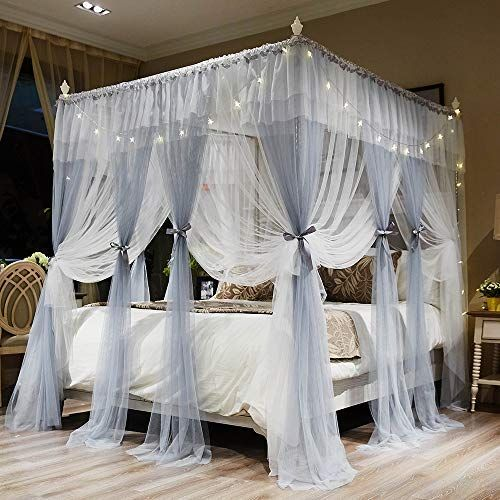 Joyreap 4 Corners Post Canopy Bed Curtains For Girls Gray White Cozy Drape Netting 4 Op In 2020 Canopy Bed Curtains Princess Bedroom Decor Bed Curtains