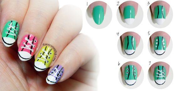 Toxic Vanity: Manicura de zapatillas/ Converse nail art