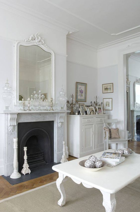 Beautiful marble fireplace and overmantel mirror: