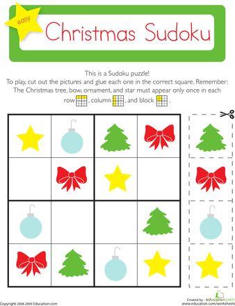 christmas sudoku weihnachten vorschule und artikel. Black Bedroom Furniture Sets. Home Design Ideas