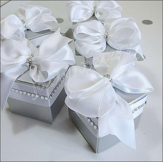 Custom Hand Made #Silver & White Rhinestone #Luxury #Wedding Favor #Boxes