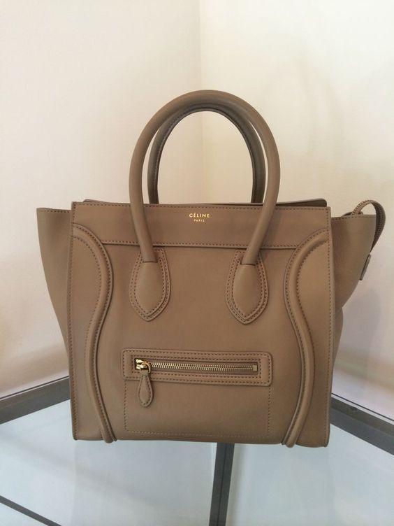 imitation celine bag - CELINE BEIGE MINI LUGGAGE TOTE PHANTOM $3100 SOLD OUT CAMEL GREAT ...