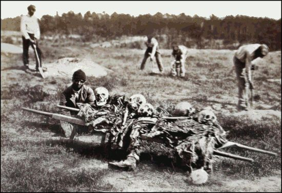 Burial party burying the dead on long after the Battle of Cold Harbor.