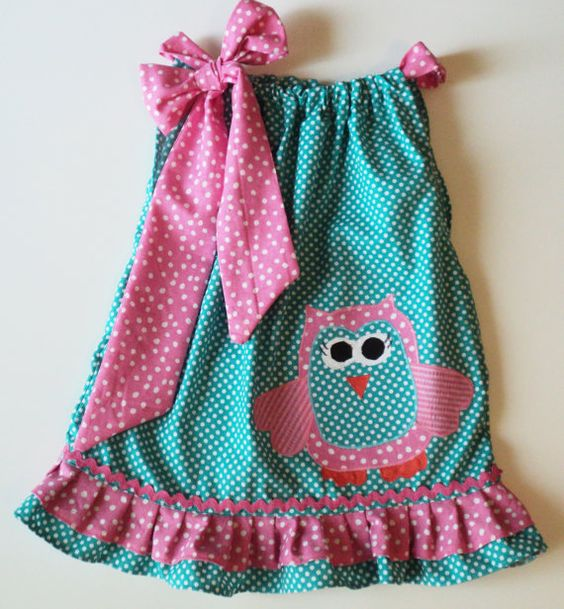 Very sweet owl pillowcase dress...love the bow on one shoulder :)