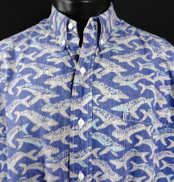 Kahala Mens XL Shirt Reverse Print Hawaiian Whale Orca Print Blue SS Button USA…
