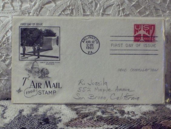 http://ajunkeeshoppe.blogspot.com/  First Day Issue/Cover-Stamp-7c Airmail Stamp 1960 8ozP724B4HP1197