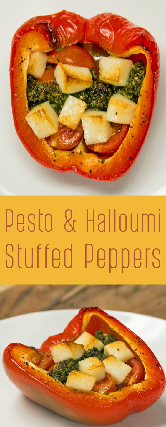 Pesto & Halloumi Stuffed Peppers  30g fresh basil 30g pine nuts (toasted) 20g parmesan (grated) 1 clove garlic (crushed) 15ml Extra virgin olive oil Salt Ground pepper 2 bell peppers 10-12 cherry tomatoes Juice of half lemon 50g-75g halloumi (diced)  Method: 1. Blend up the basil, pine nuts, parmesan, garlic, olive oil and a pinch of salt and pepper to make a thick pesto - add more olive oil if it's a bit too dry, but you want to make it relatively thick. 2. Cut 2 peppers in half and remove…