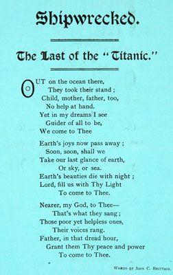Poem The Last Of The Titanic John C Brittain 1912