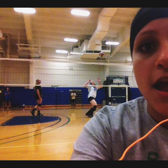 20. Volleyball practice #selfie   Got hit in the back of the head right after I took this. Congrats to Carol Rothenberger on qualifying for the grand prize!