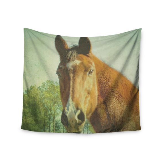 """Robin Dickinson """"CT"""" Green Brown Wall Tapestry"""
