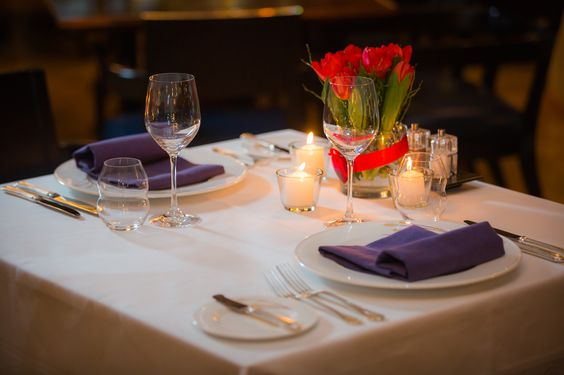Special Valentine's Day table setup at the Gresham Restaurant to treat your loved one to a truly memorable dinner experience.