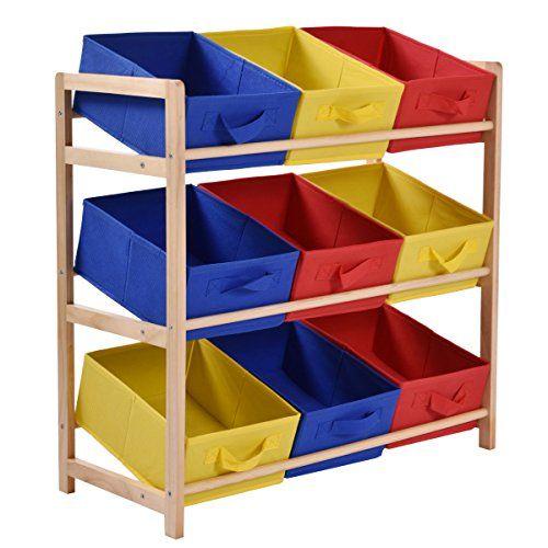 Toy Storage Ideas Jaxpety 3 Tier Storage Unit With 9 Canvas Bins Yellow Blue Red Children Toys Storage Storage Bins Organizing Bins Fabric Storage Bins