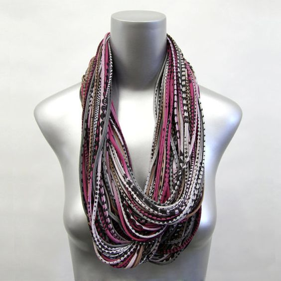 Circle Scarf Burning Man Jersey Scarf - Light Brown Burgandy - Large Eternity Scarf - Womens Mens Necklace Infinity Scarf Fabric Jewelry