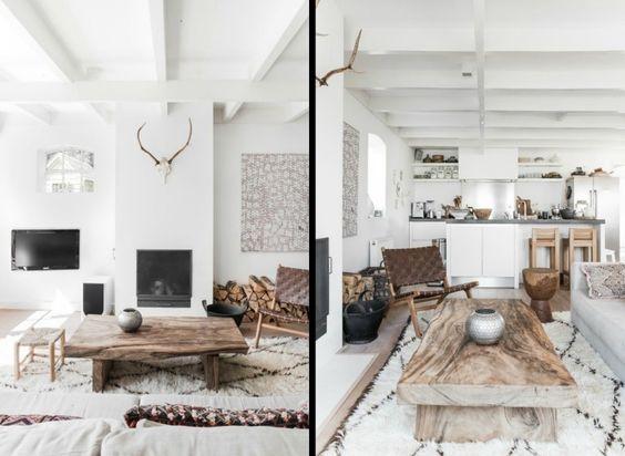 dco salon blanc de style chalet moderne table basse en bois massif chaise en - Salon En Bois Massif Cuire