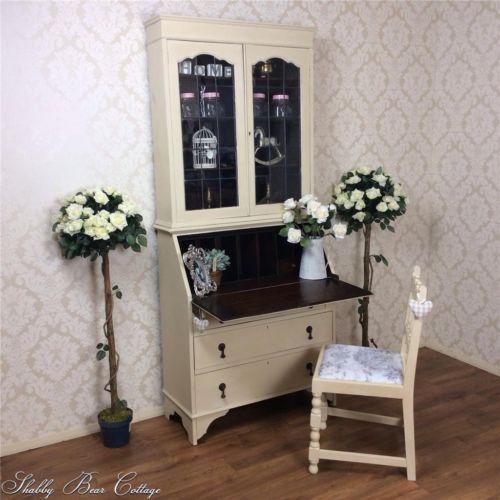 Shabby Chic Writing Desk Bureau bookcase + chair French White Painted  Vintage | eBay
