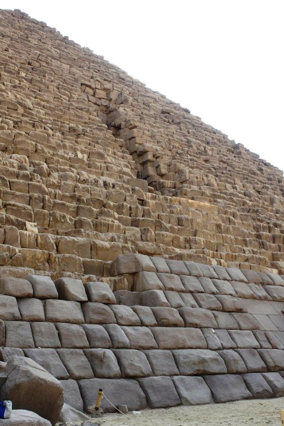 A rare photo of the outer cover rock layer of the third great pyramid of Giza, Egypt