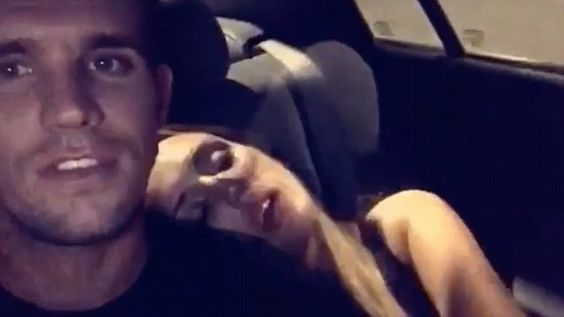 'That's my girl!' Gaz Beadle films sleeping Charlotte Crosby in a funny video posted to her instagram account.