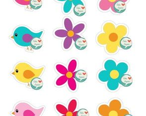 Aplique Pássaros e flores
