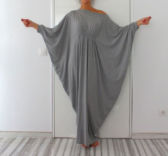 Robe Maxi longue gris Abaya robe robe en par cherryblossomsdress
