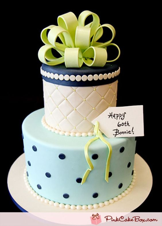 Blue And White Classic Fondant Mom Birthday Cakes