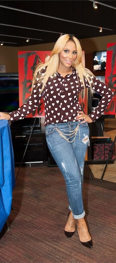 Tamar Braxton In Burberry Heart Print Shirt