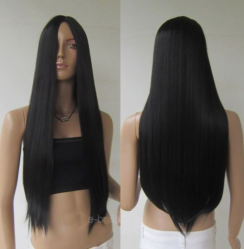 "Women Black 28"" Long Cosplay Party Wigs Heat Resistant Full Straight Hair Wig 