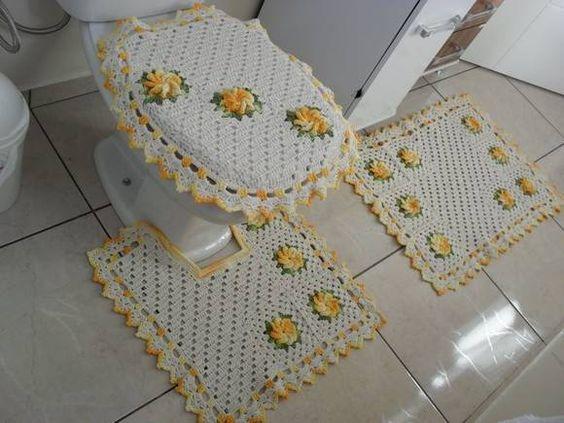 Kit Para Banheiro Artesanato ~ jogo de banheiro confeccionado em barbante crú e barbante barroco da circulo amarelo e verde