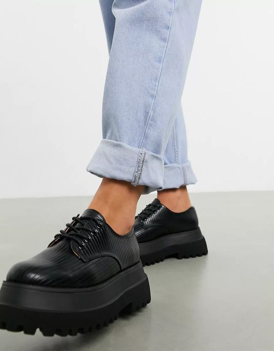 ASOS DESIGN Marcy chunky lace up flat shoes in black lizard asos