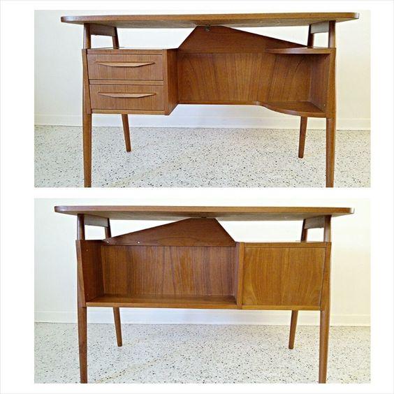 Beautiful teak 60's mid century Danish modern Tibergaard double sided desk