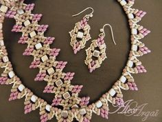 Superduos and Tila Bead Bracelet, Earrings and Necklace.