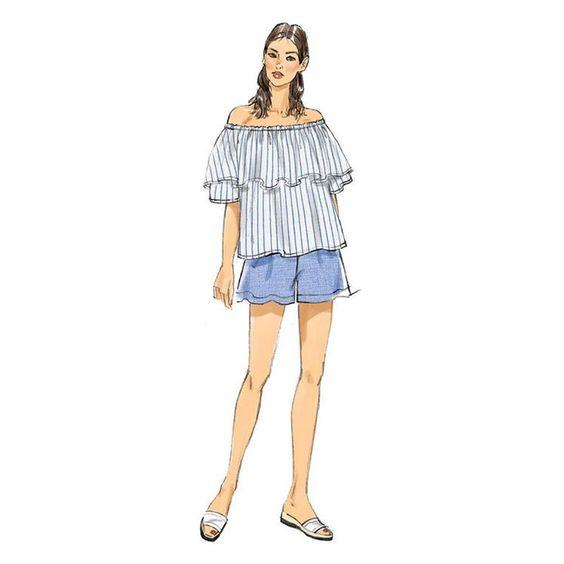 Vogue sewing pattern V9257 WOMEN/'S Off Le Épaule Ruffle Pantalon /& short