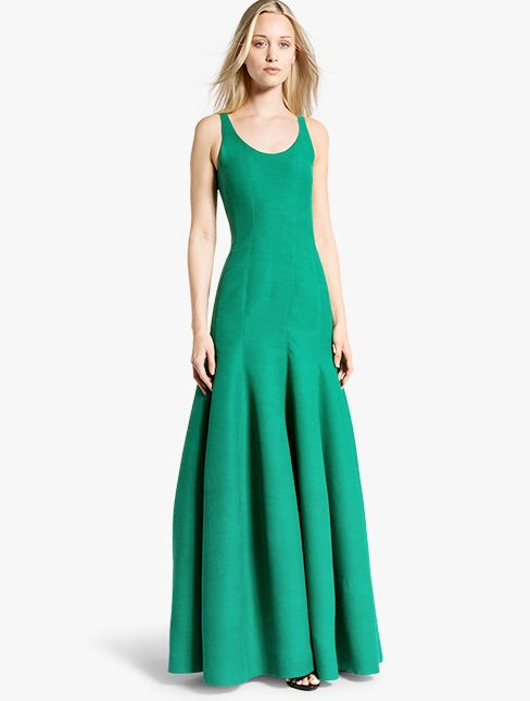 Halston Heritage Tulip Cotton Faille Gown in Emerald. A subtle ...