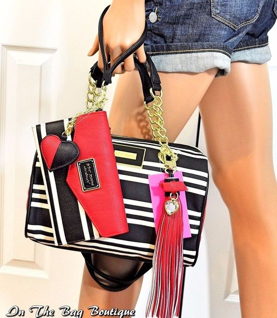 Betsey Johnson Striped Satchel Handbag Purse & Wristlet Wallet Set NWT…