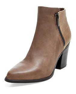 Light Brown Leather Pointed Block Heel Ankle Boots  | New Look