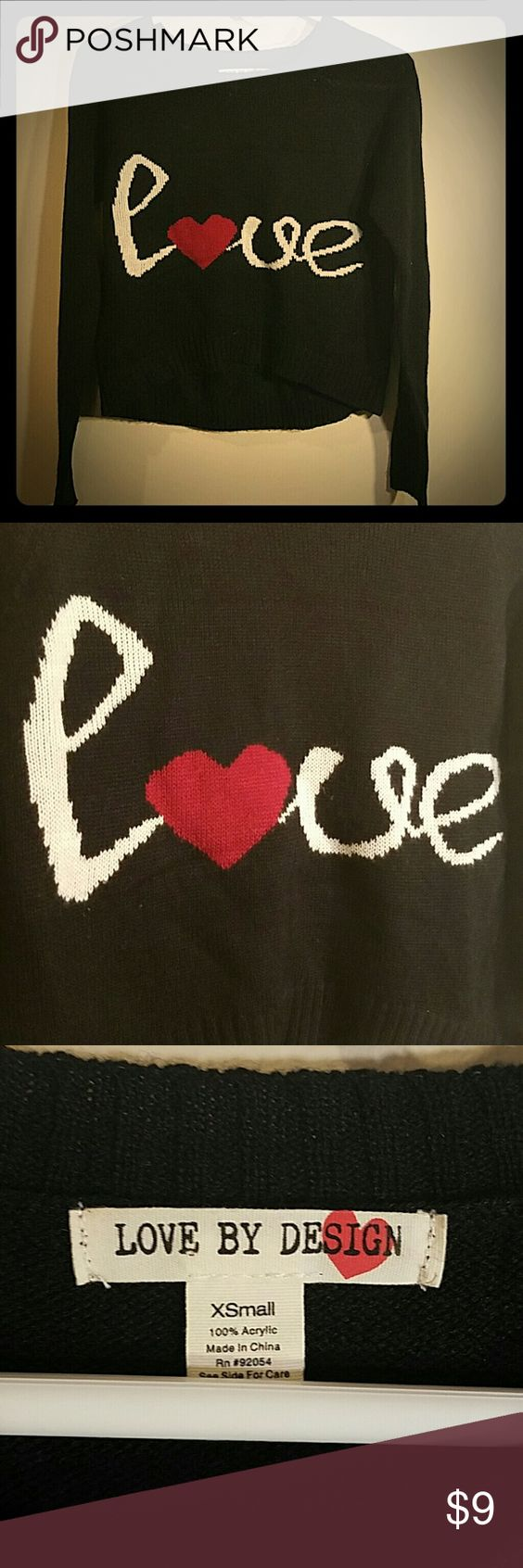 """Love By DESIGN """"LOVE"""" sweater Navy blue, almost black, crop sweater. This is SO cute! ? Design by Love Sweaters Crew & Scoop Necks"""