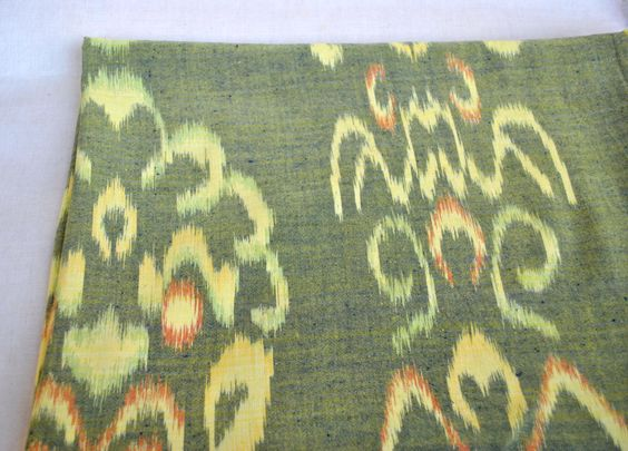 Ikat vintage cotton fabric yellow and green hand woven ethnic cotton Fabric by Yard by Klaptik on Etsy