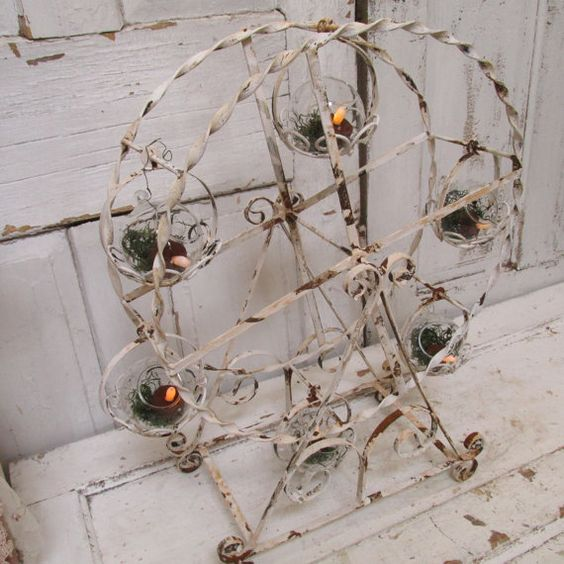 large metal ferris wheel painted white rusty cottage chic home decor has display globe terrariums or candle holders anita spero chic small white home