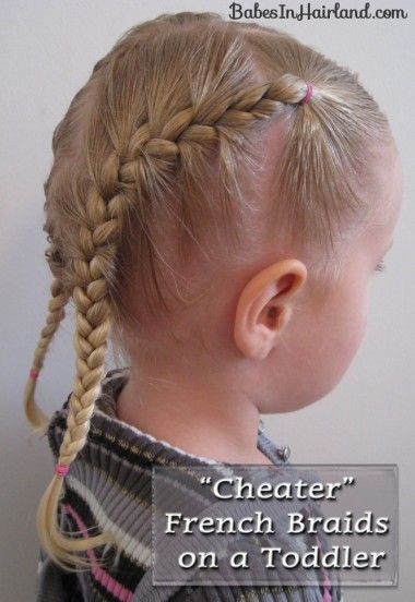 french braids on a toddler (with all those little baby hairs up front)